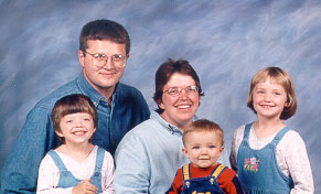 Family Photo, Father, Mother and 3 Children